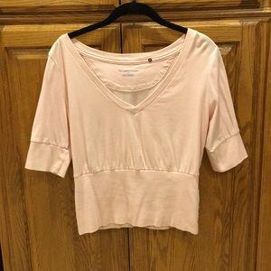 Powder pink short sleeved v neck top
